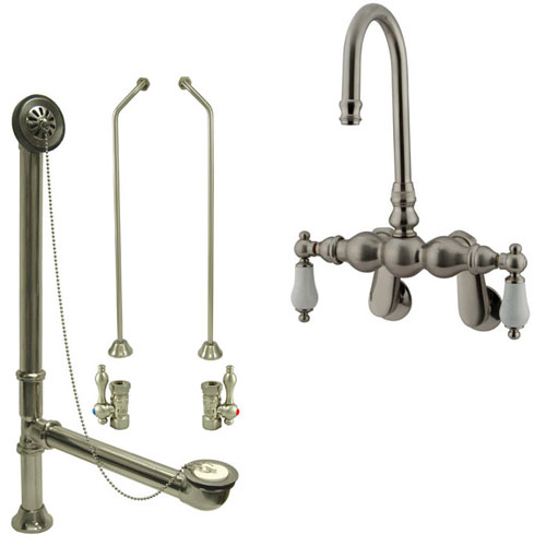 Satin Nickel Wall Mount Clawfoot Bathtub Faucet Package Supply Lines & Drain CC83T8system