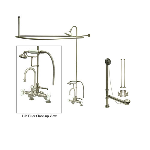 Satin Nickel Clawfoot Tub Faucet Shower Kit with Enclosure Curtain Rod 8538PXCTS