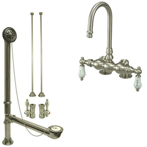 Satin Nickel Deck Mount Clawfoot Bathtub Faucet Package Supply Lines & Drain CC95T8system