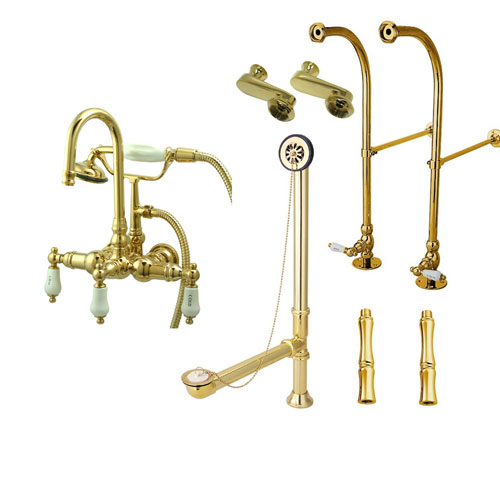Freestanding Floor Mount Polished Brass Hot/Cold Porcelain Lever Handle Clawfoot Tub Filler Faucet with Hand Shower Package 9T2FSP