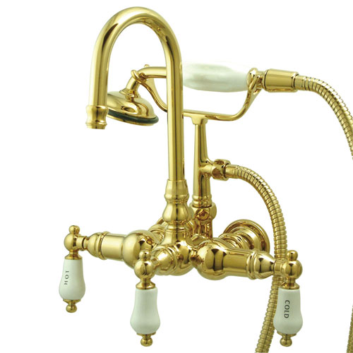 Kingston Brass Polished Brass Wall Mount Clawfoot Tub Faucet w Hand Shower CC9T2