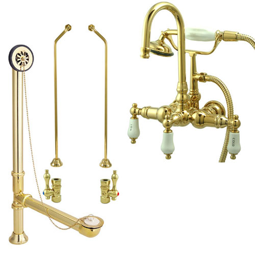 Polished Brass Wall Mount Clawfoot Bathtub Filler Faucet w Hand Shower Package CC9T2system