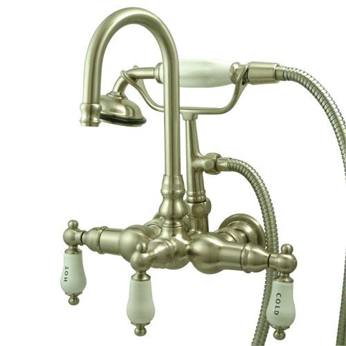 Kingston Brass Satin Nickel Wall Mount Clawfoot Tub Faucet w Hand Shower CC9T8