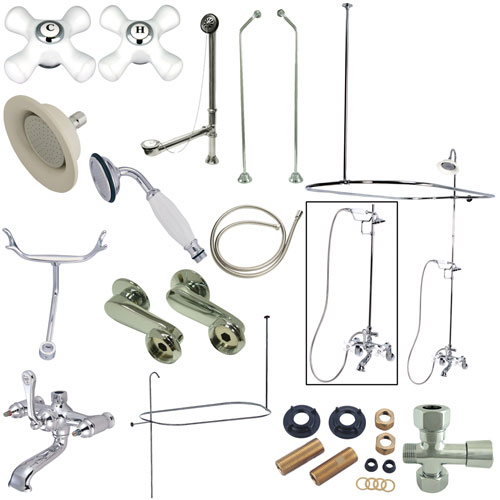 Kingston Chrome Clawfoot Tub Faucet Package with 24