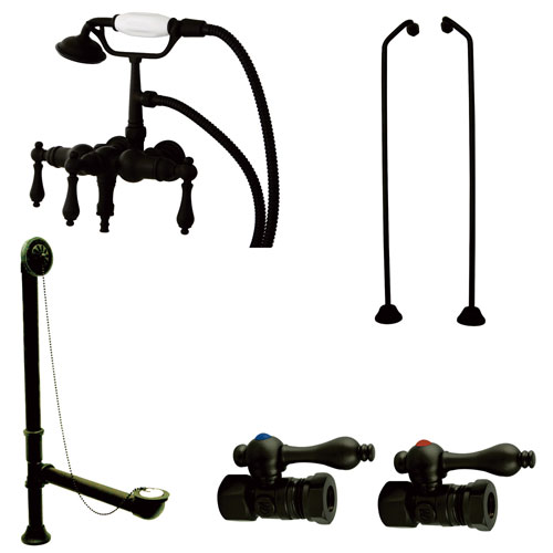 Oil Rubbed Bronze Wall Mount Clawfoot Tub Faucet w Hand Shower Package CCK19T5B