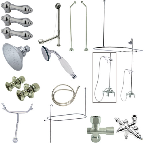 Kingston Chrome Clawfoot Tub Faucet Package with 22