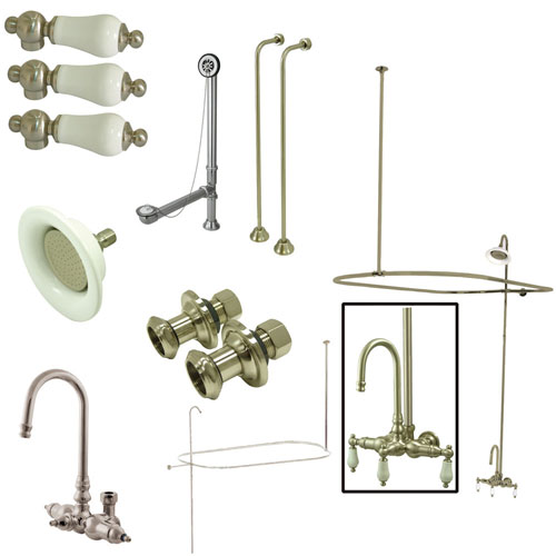 Kingston Satin Nickel Clawfoot Tub Faucet Package w Goose Neck Spout CCK4148PL