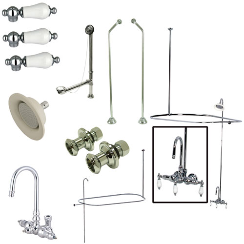 Kingston Chrome Clawfoot Tub Faucet Package w High Rise Goose Neck CCK4181PL