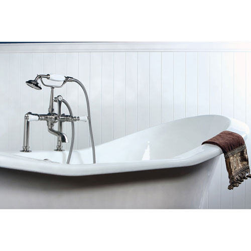 Kingston Brass CC105T8 Vintage 7-Inch Leg Tub Filler with Hand Shower, Satin Nickel