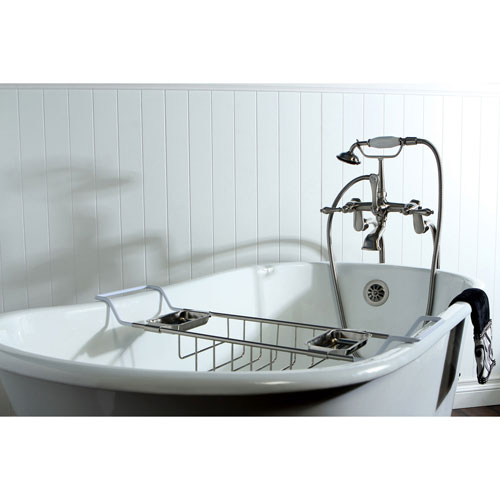 53 Clawfoot Tub With Freestanding Satin Nickel Faucet Hardware Pa