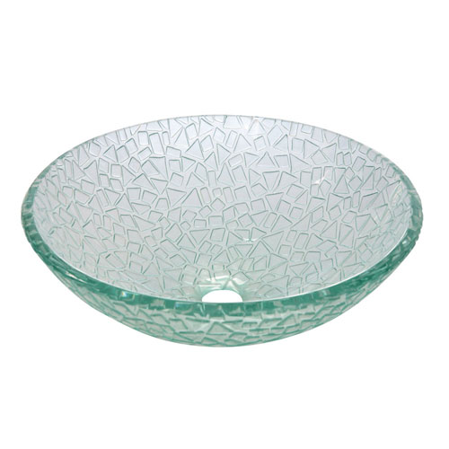 Nordica Crystal Glass Vessel Bathroom Sink without Overflow Hole CV1616RCC
