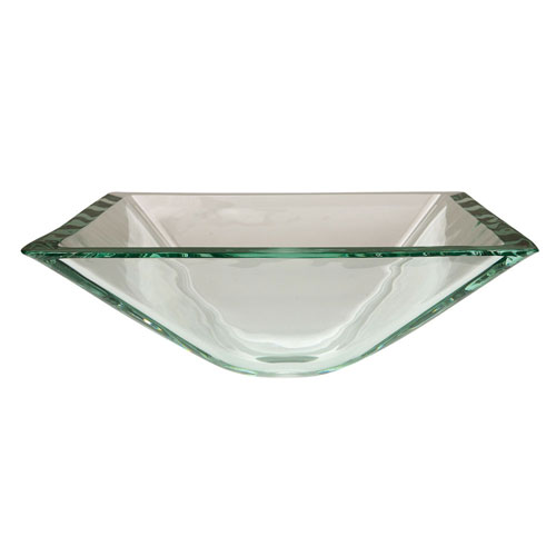 Crystal Clear Glass Vessel Bathroom Sink without Overflow Hole CV1616VCC