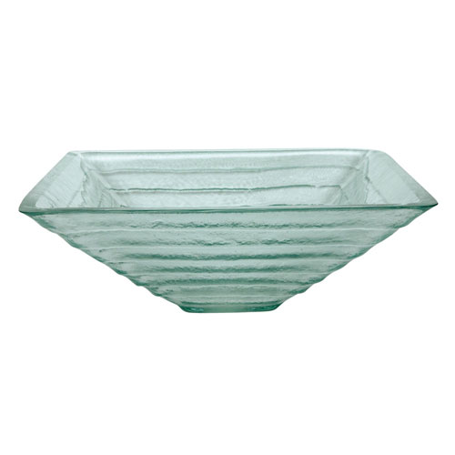 Crystal Glacier Glass Vessel Bathroom Sink without Overflow Hole CV1616VCG