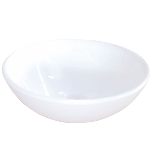 Kingston Brass White China Vessel Bathroom Sink without Overflow Hole EV4030