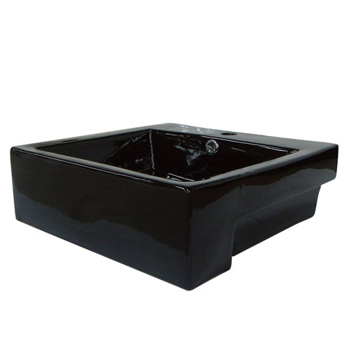 Kingston Concord Black China Vessel Bathroom Sink with Overflow Hole EV4034K