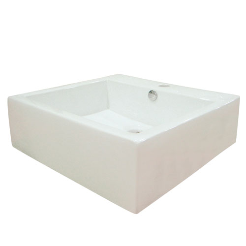 White China Vessel Bathroom Sink with Overflow Hole & Faucet Hole EV4042