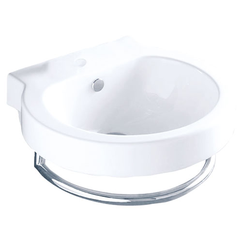 White China Vessel Bathroom Sink with Overflow Hole & Faucet Hole EV4052