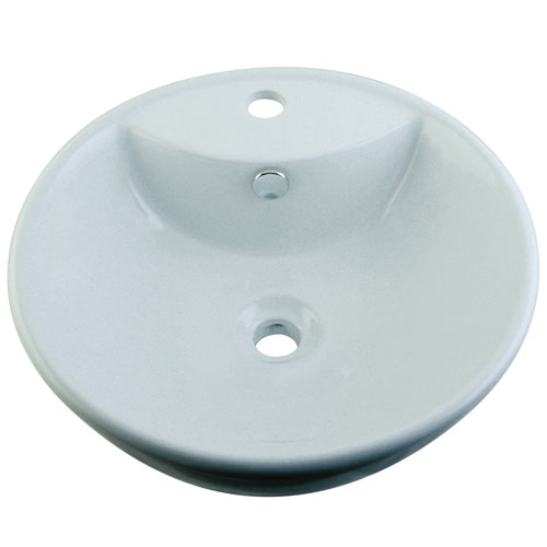 White China Vessel Bathroom Sink with Overflow Hole & Faucet Hole EV4074