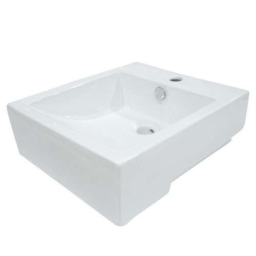 White China Vessel Bathroom Sink with Overflow Hole & Faucet Hole EV4076