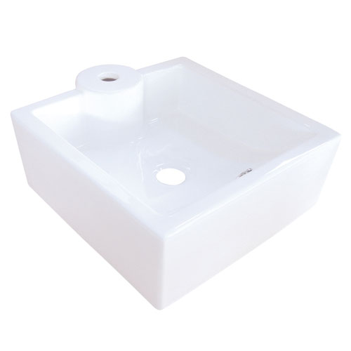 White China Vessel Bathroom Sink with Overflow Hole & Faucet Hole EV4086