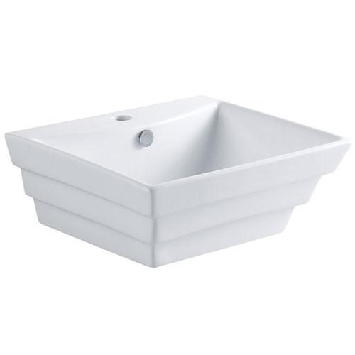 Kingston White China Vessel Bathroom Sink w/Overflow Hole & Faucet Hole EV4346