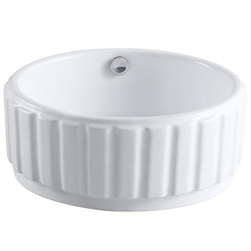 Kingston Italiano White China Vessel Bathroom Sink with Overflow Hole EV7129