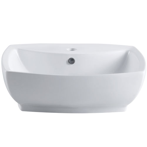 Kingston White China Vessel Bathroom Sink w/Overflow Hole & Faucet Hole EV8145
