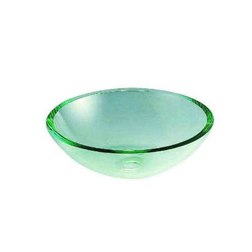 Crystal Clear Finish Glass Vessel Bathroom Sink w/o Overflow Hole EVSPCC1