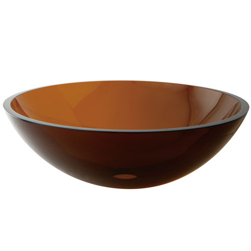 Kingston Amber Brown Tempered Glass Bathroom Sink w/o Overflow Hole EVSPFW1