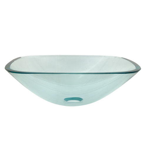 Kingston Crystal Clear Glass Vessel Bathroom Sink w/o Overflow Hole EVSQCC4