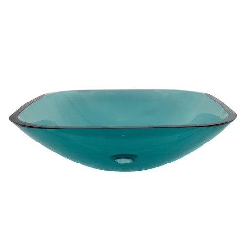 Kingston Emerald Green Glass Vessel Bathroom Sink w/o Overflow Hole EVSQFG4