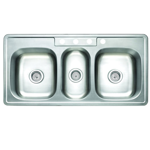 Brushed Nickel Gourmetier Triple Bowl Self-Rimming Kitchen Sink GKT5021969TBN