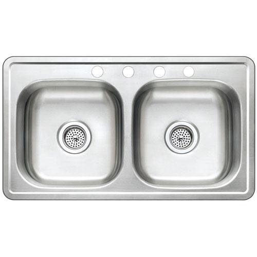 Kingston Brass Brushed Nickel Studio Self Rimming Double Bowl Sink GKTD33197