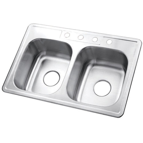 Brushed Nickel Gourmetier Double Bowl Self-Rimming Kitchen Sink GKTD33226