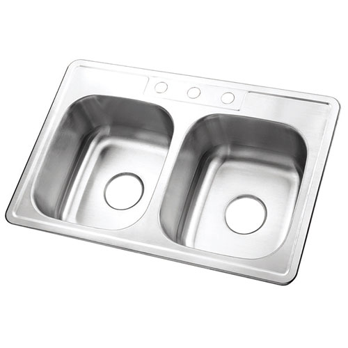 Brushed Nickel Gourmetier Double Bowl Self-Rimming Kitchen Sink GKTD332283