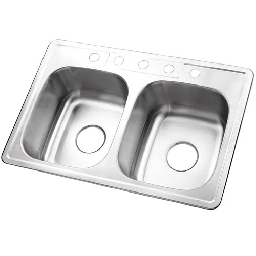 Brushed Nickel Gourmetier Double Bowl Self-Rimming Kitchen Sink GKTD332285
