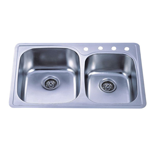 Brushed Nickel Gourmetier Double Bowl Self-Rimming Kitchen Sink GKTDD3322CH