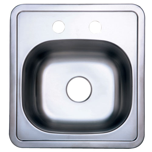 Kingston Brushed Nickel Gourmetier Single Bowl Self-Rimming Bar Sink GKTS1515