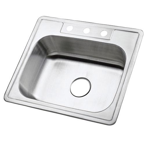 Brushed Nickel Gourmetier Single Bowl Self-Rimming Kitchen Sink GKTS2520