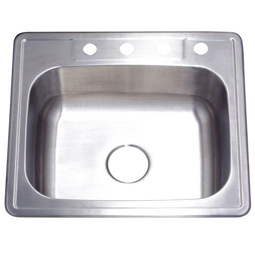 Brushed Nickel Gourmetier Single Bowl Self-Rimming Kitchen Sink GKTS252210