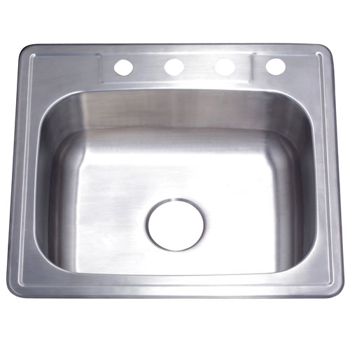 Brushed Nickel Gourmetier Single Bowl Self-Rimming Kitchen Sink GKTS25228
