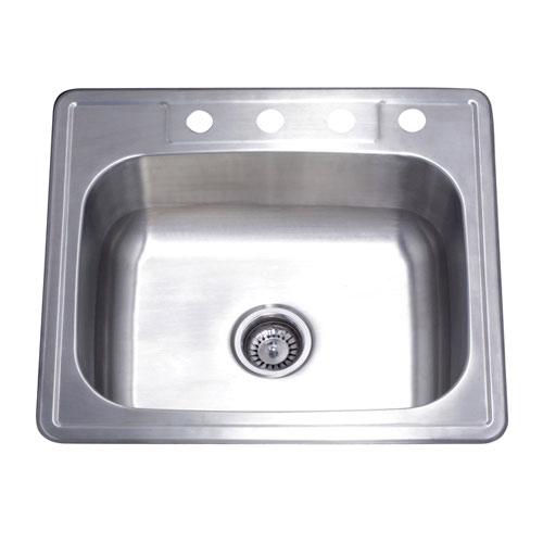 Brushed Nickel Gourmetier Single Bowl Self-Rimming Kitchen Sink GKTS2522