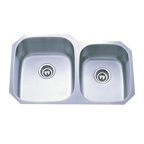 Kingston Brushed Nickel Gourmetier Double Bowl Undermount Kitchen Sink GKUD3221P