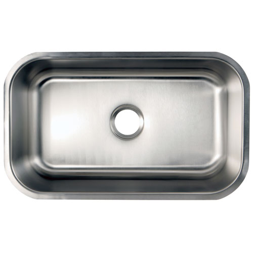 Kingston Brushed Nickel Gourmetier Single Bowl Undermount Kitchen Sink GKUS3018