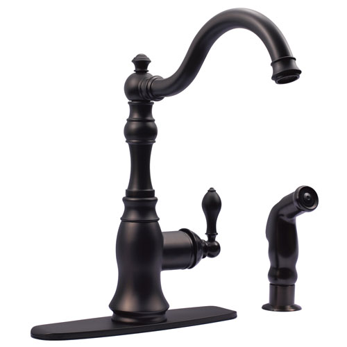 Kingston Oil Rubbed Bronze Single Handle Kitchen Faucet w Sprayer GS7705ACLSP