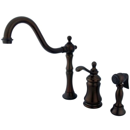 Kingston Oil Rubbed Bronze Widespread Kitchen Faucet w Brass Sprayer GS7805TPLBS