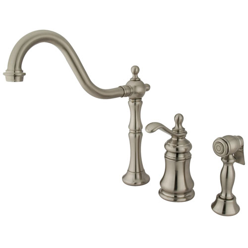 Kingston Satin Nickel Widespread Kitchen Faucet w Brass Sprayer GS7808TPLBS