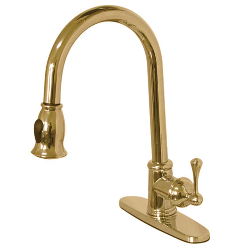 Kingston Polished Brass Single Hole Pull Down Kitchen Faucet w plate GS7882BL