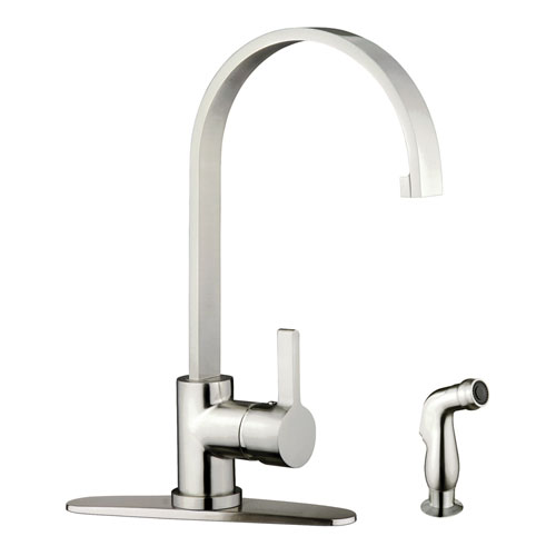 Kingston Satin Nickel Single Handle Kitchen Faucet w Brass Sprayer GS8718CTLSP