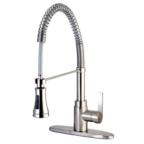 Kingston Brass Satin Nickel Single Handle Pre-rinse Kitchen Faucet GS8878CTL